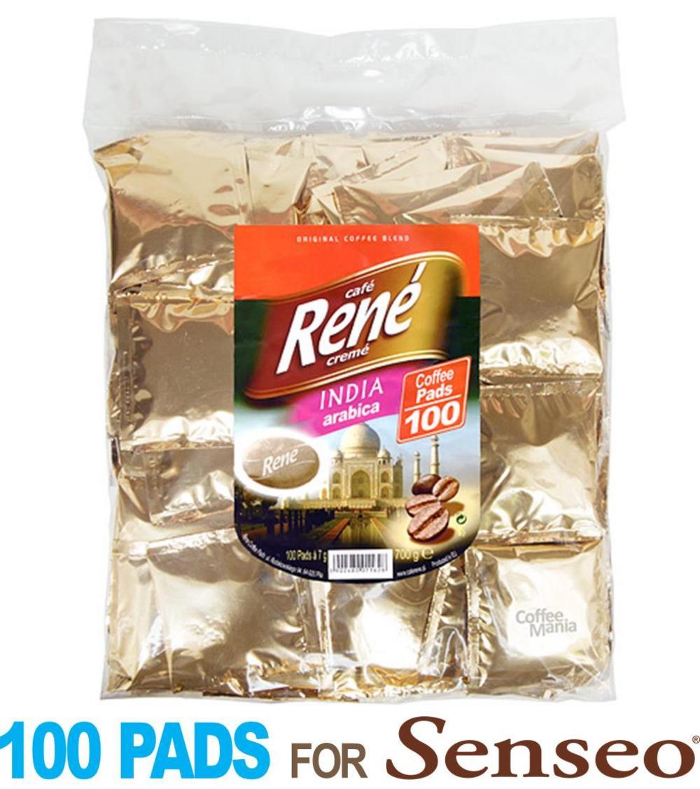 Philips Senseo 100 x Café Rene Crème India Coffee Pads Bags Pods
