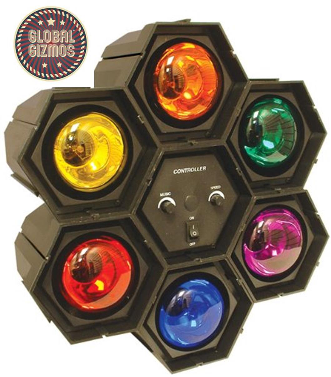Multi Colour 6-in-1 Flashing Disco Party Spot Lights Beat Reactive ...