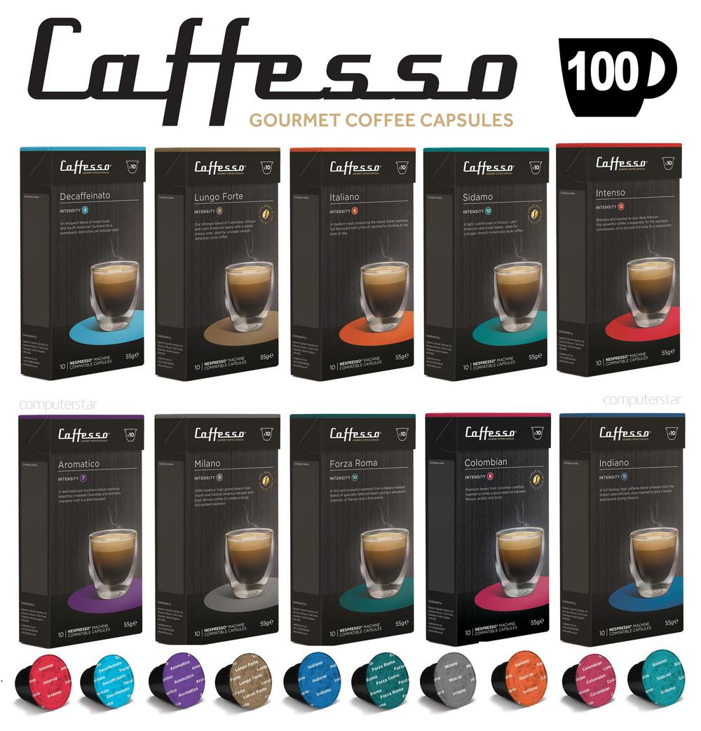 100 x Caffesso Nespresso Compatible Coffee Capsules 10 Blend Selection Pack