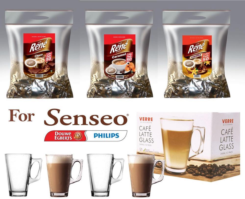 Senseo Café Rene 150x Flavoured Coffee CHOCOLATE CARAMEL VANILLA + 4 Glasses