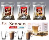 Senseo Café Rene 150x Flavoured Coffee CHOCOLATE CARAMEL VANILLA + 4 Glasses