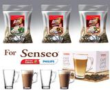 Senseo Café Rene 150x Flavoured Coffee HAZELNUT AMARETTO IRISH + 4 Glasses