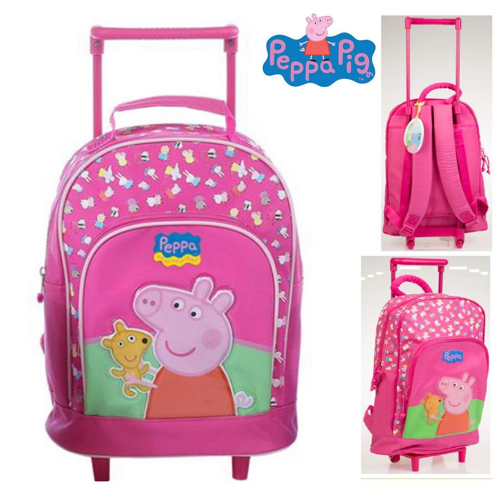 PEPPA PIG Extendable Trolley + Backpack Rucksack Travel Bag - Official Licensed