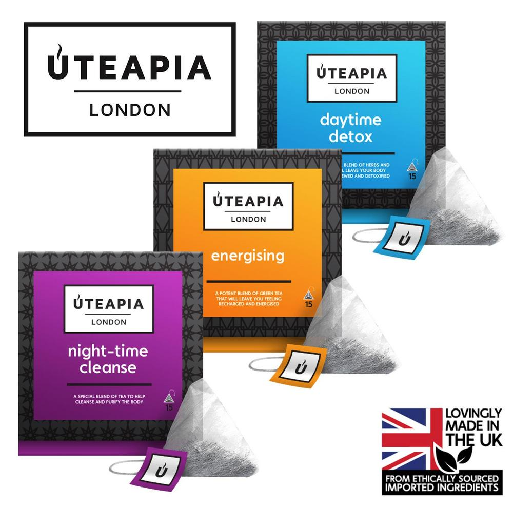 UTEAPIA LONDON 3 Unique Tea Blends - Daily Detox, Energising, Night-Time Cleanse