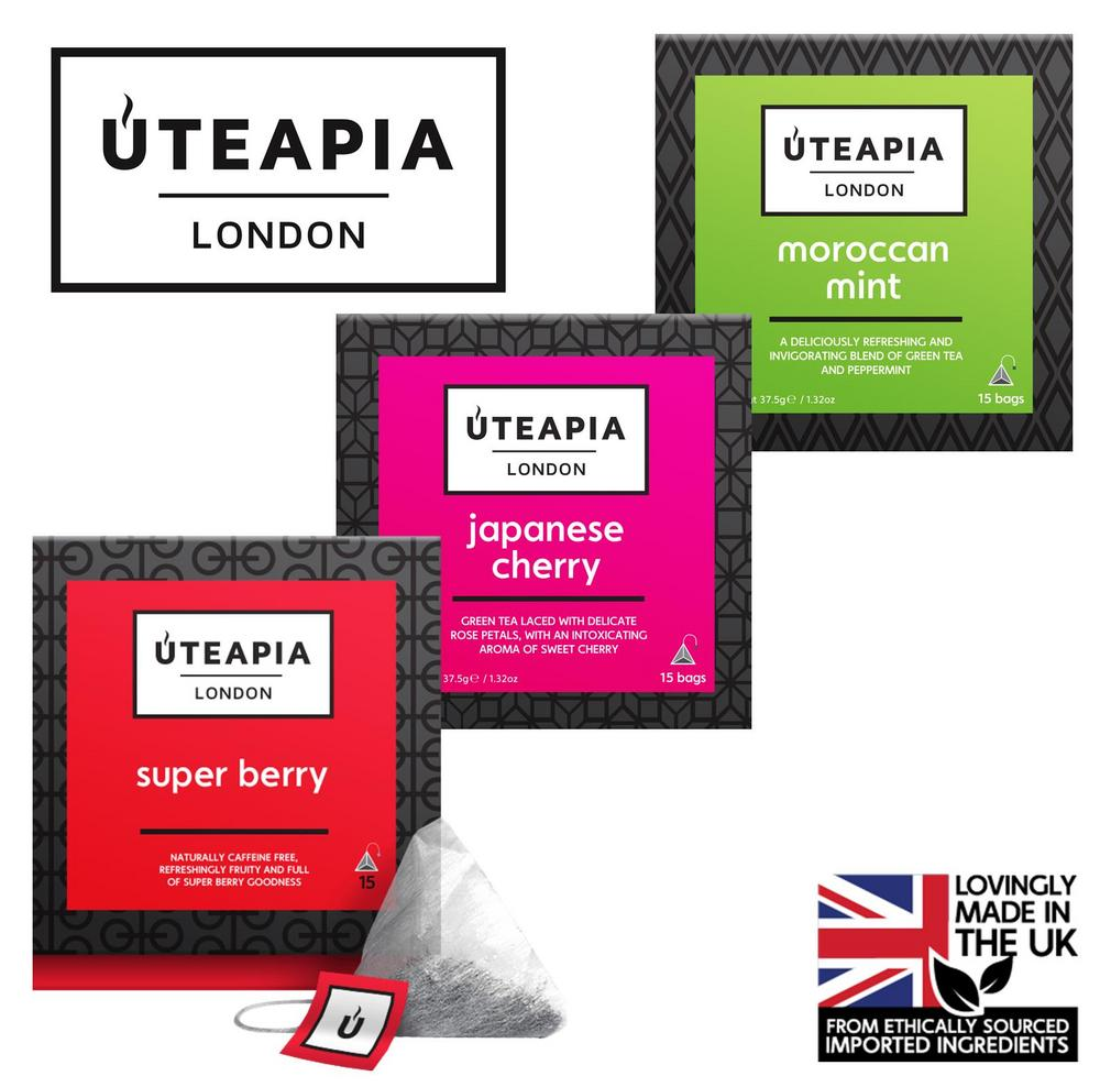 UTEAPIA LONDON 3 Unique Tea Blends - Super Berry, Japanese Cherry, Moroccan Mint