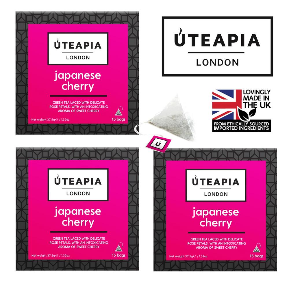 UTEAPIA LONDON - Japanese Cherry Aromatic Sencha Green Tea - 45 Tea Temples