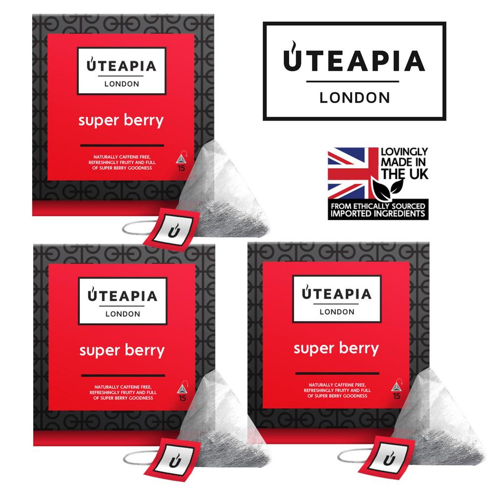 UTEAPIA LONDON Super Berry Natural Caffeine Free Fruity Goodness- 45 Tea Temples