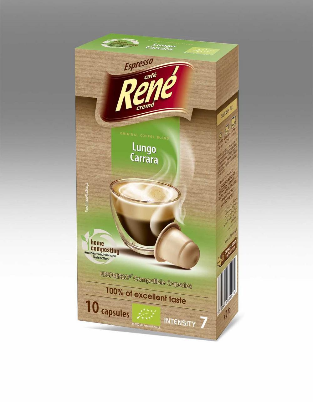 Café Rene Nespresso Compatible Capsules - Bio Organic Lungo Carrara 10 Capsules