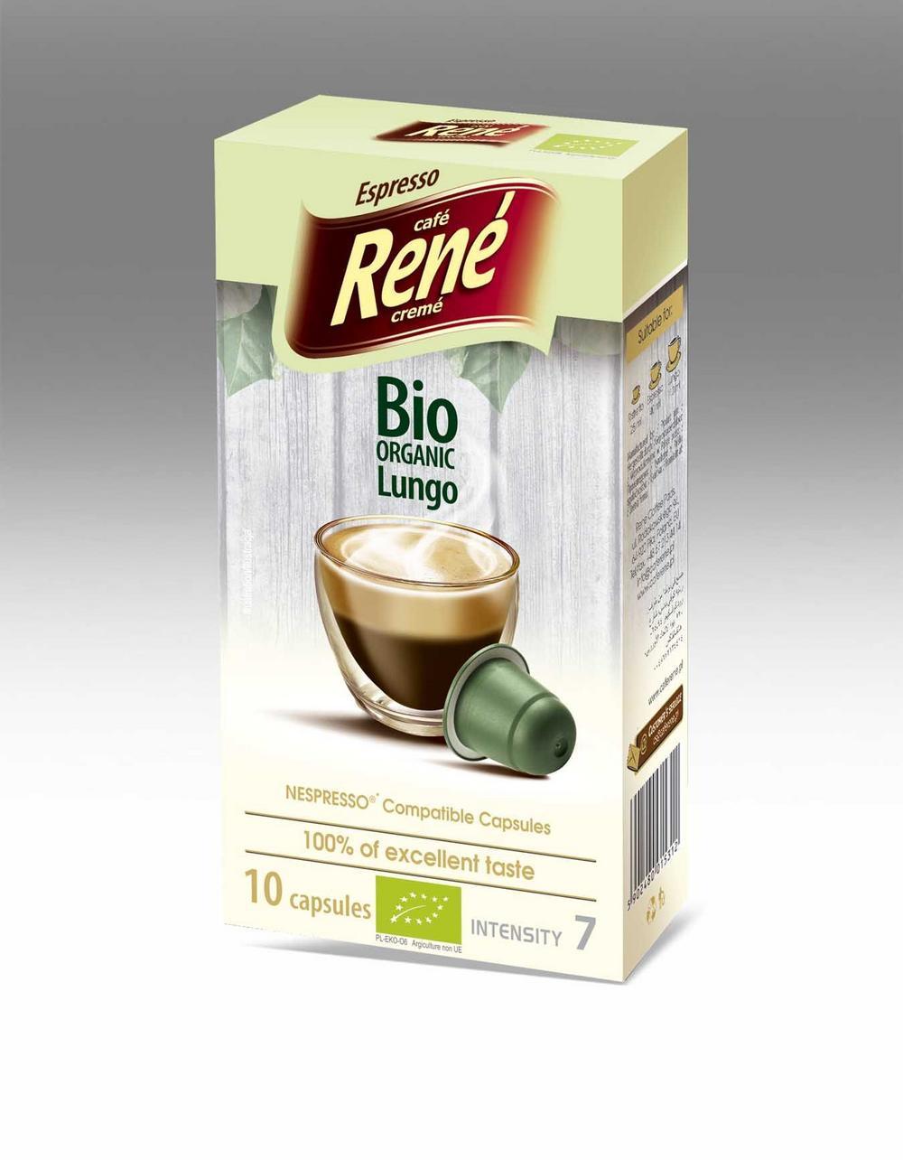 Café Rene Nespresso Compatible Capsules - Bio Organic Lungo 10 Capsules