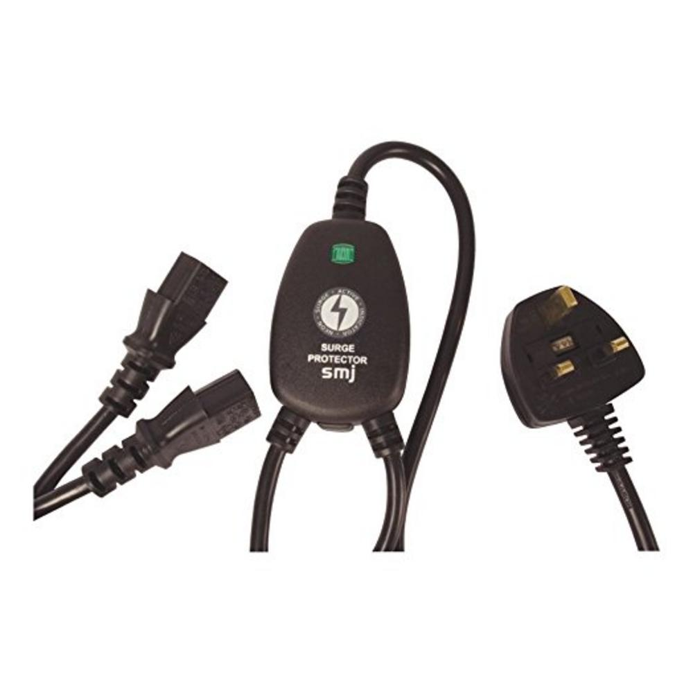 Y Splitter Mains Kettle Twin 2M Power Lead PC & Monitor with Surge Protection UK