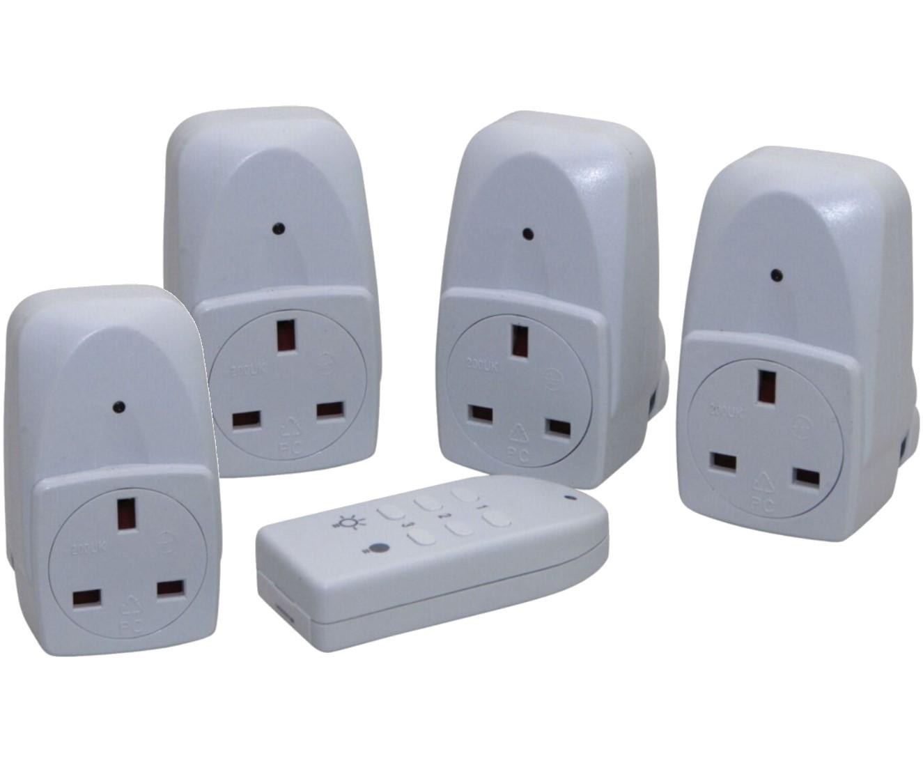 wireless remote control electrical sockets 2 pack uk plug. Black Bedroom Furniture Sets. Home Design Ideas