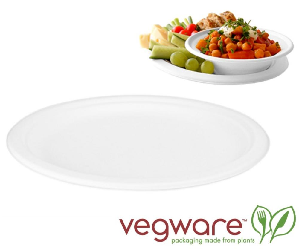 Vegware Compostable 9 Inch Plate made from Bagasse Sugarcane Fibre - Pack of 50