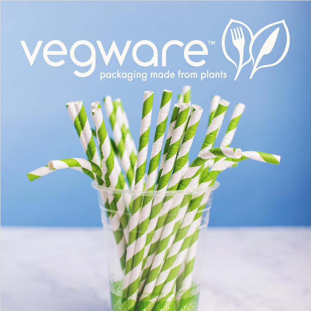 "Vegware Compostable 8"" Green Stripe Flexi White 8mm Paper Straw - Pack of 200"