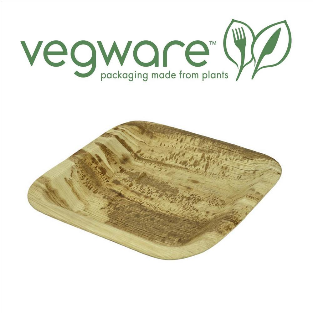 "Vegware Compostable 10"" Square Palm Leaf Plate - Pack of 25"