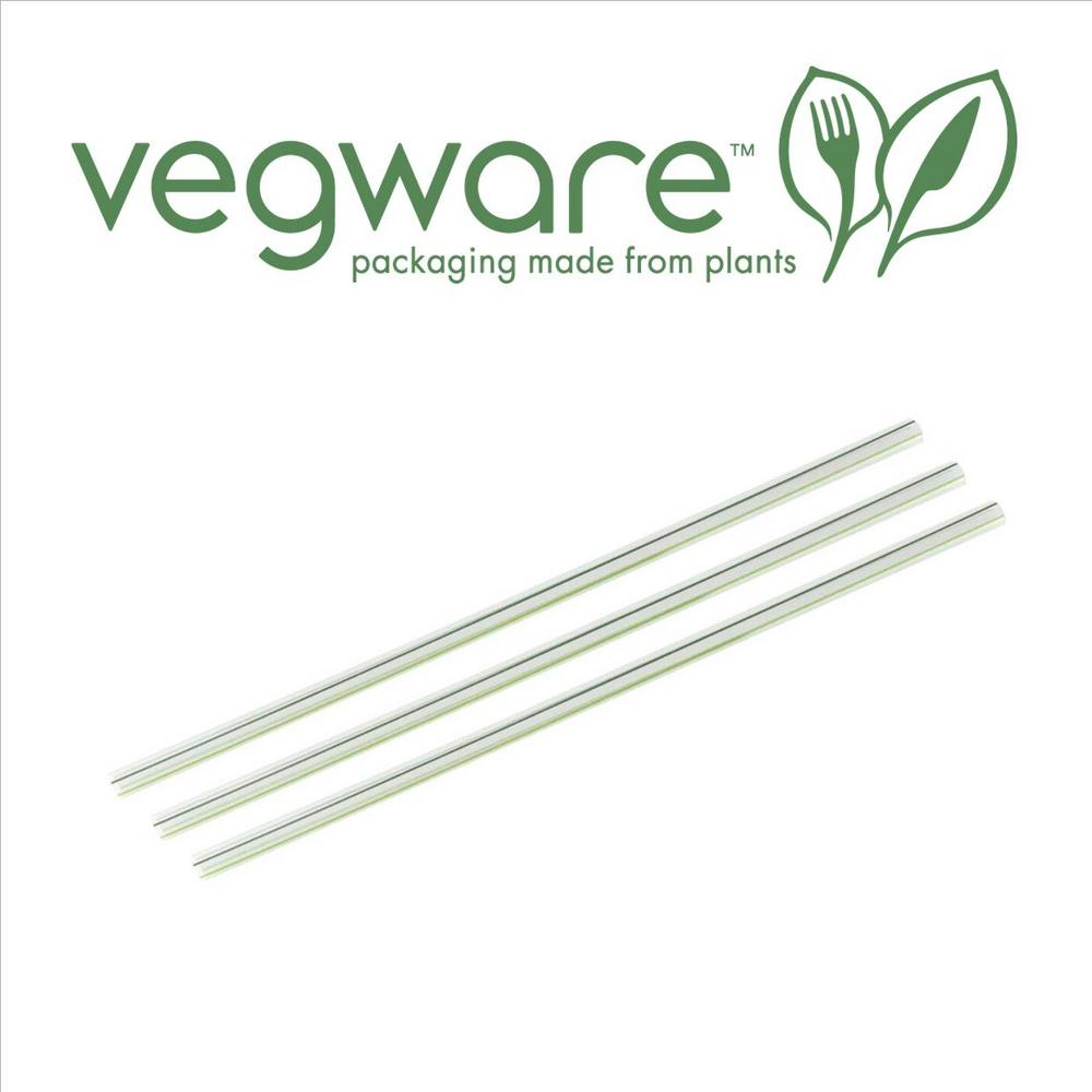 "Vegware Compostable 8"" Green Stripe Clear PLA Straw 7mm Diameter - Pack of 200"