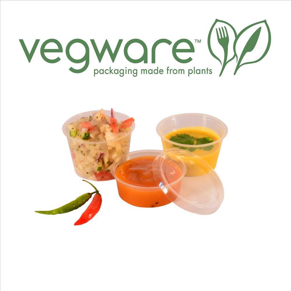 Vegware Compostable 4oz PLA Cold Portion Pot & Lid - Pack of 100