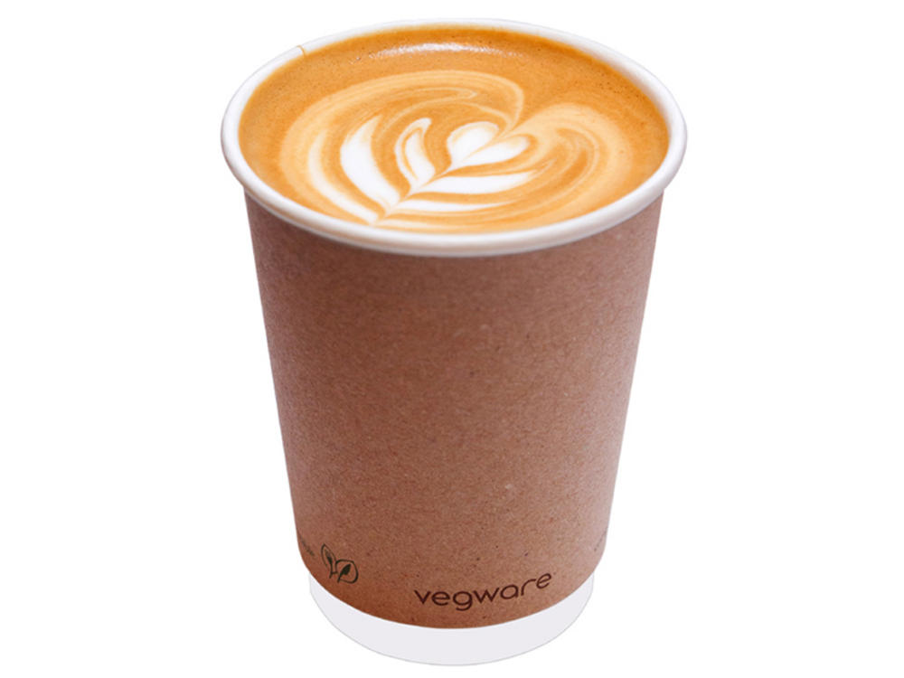 Vegware Compostable 16oz Double Wall Brown Hot Kraft Cup - Pack of 100