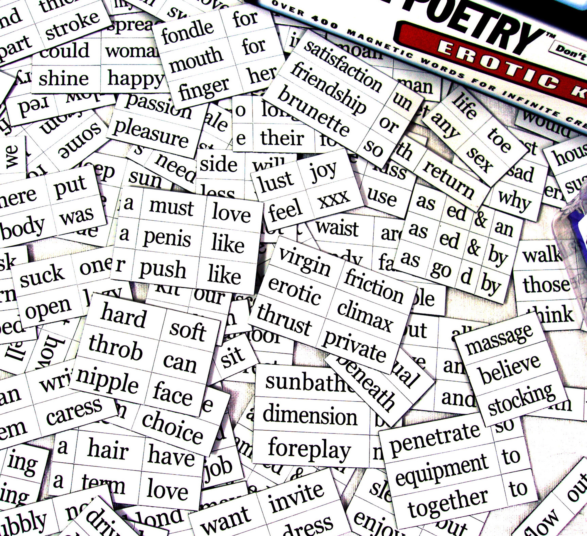 Erotic magnetic poetry simply matchless