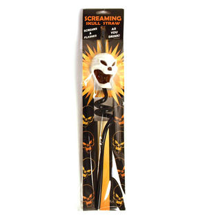 Led Screaming Skull Straw Halloween Party Thumbnail 1
