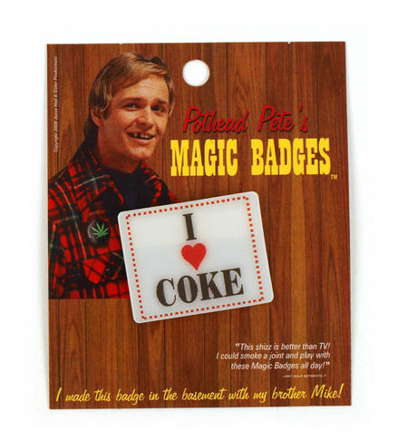 Magic Changing Badge - I Love Coke / I Love Cake