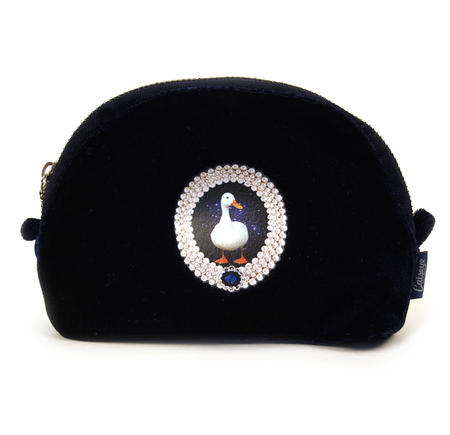 Duck On Blue Velour Small Bag By Catseye