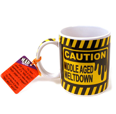 Caution Middle Age Meltdown Mad Mug