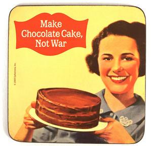Cool Coaster 'make Chocolate Cake, Not War' Thumbnail 1