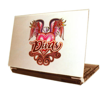 Laptop Notebook Tattoo Sticker - Diva Winged Heart