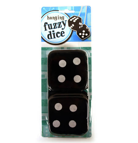 Black Hanging Fuzzy Furry Dice