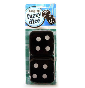 Black Hanging Fuzzy Furry Dice Thumbnail 1