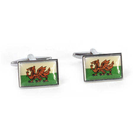 Cufflinks - Welsh Flag - Rhodium