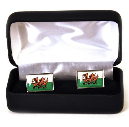 Welsh Flag - Rhodium Cufflinks