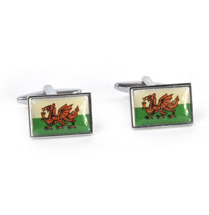 Cufflinks - Welsh Flag - Rhodium Thumbnail 1