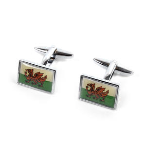 Cufflinks - Welsh Flag - Rhodium Thumbnail 2