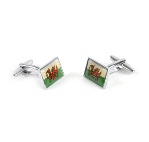 Cufflinks - Welsh Flag - Rhodium Thumbnail 3