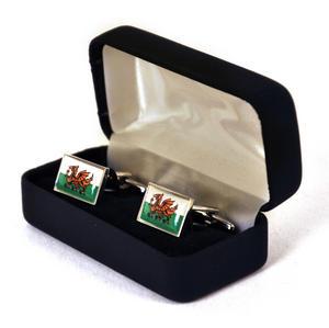Welsh Flag - Rhodium Cufflinks Thumbnail 2