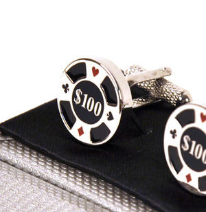 Cufflinks - $100 Poker Chip Thumbnail 1