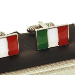 Cufflinks - Italy - Italian Flag (Bandiera Italiana) Thumbnail 1