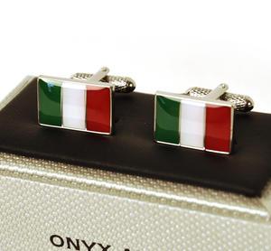 Cufflinks - Italy - Italian Flag (Bandiera Italiana) Thumbnail 2
