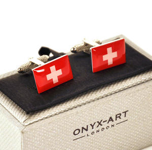 Cufflinks - Switzerland - Swiss Flag (Schweizer Flagge) Thumbnail 1