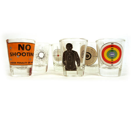 6 Shot Target Shot Glasses Set