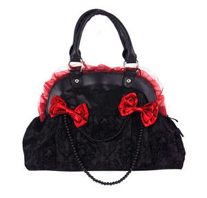 Black Skulls And Burgundy Bows Shoulder Bag Thumbnail 1