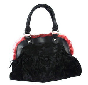 Black Skulls And Burgundy Bows Shoulder Bag Thumbnail 4