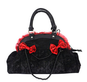 Black Skulls And Burgundy Bows Shoulder Bag Thumbnail 6