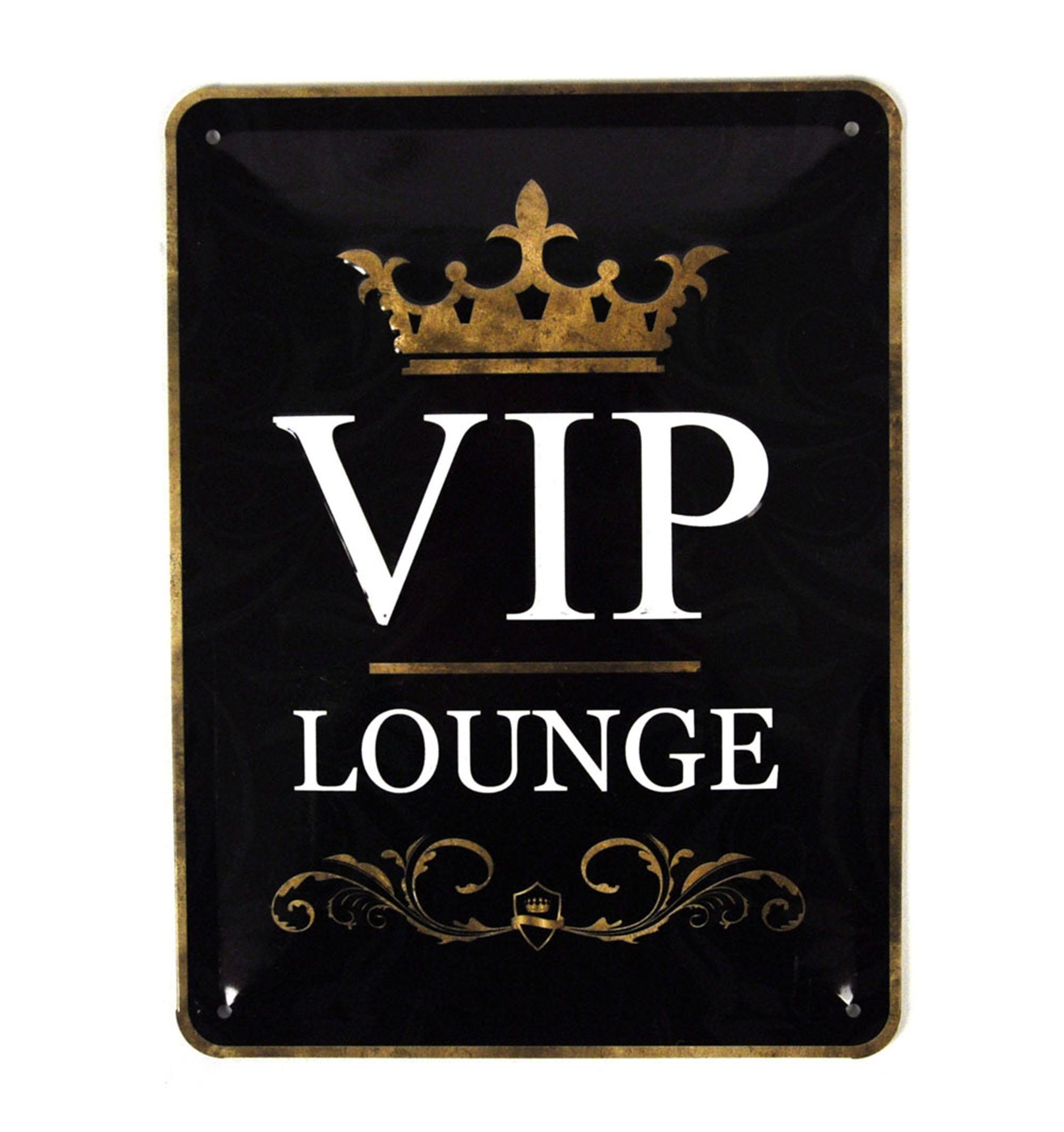 vip lounge metal sign pink cat shop. Black Bedroom Furniture Sets. Home Design Ideas