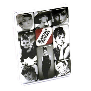Audrey Hepburn Black And White Fridge Magnet Set Thumbnail 1