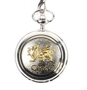Gold Welsh Dragon Pocket Watch Thumbnail 1