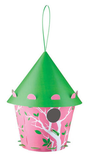 Diy Bird House - Pink Cone Branch Design Thumbnail 1