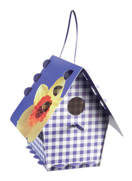 Diy Bird House - Gingham Purple Design
