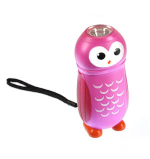 Owl Hand Powered Torch - Random Pink Or Blue